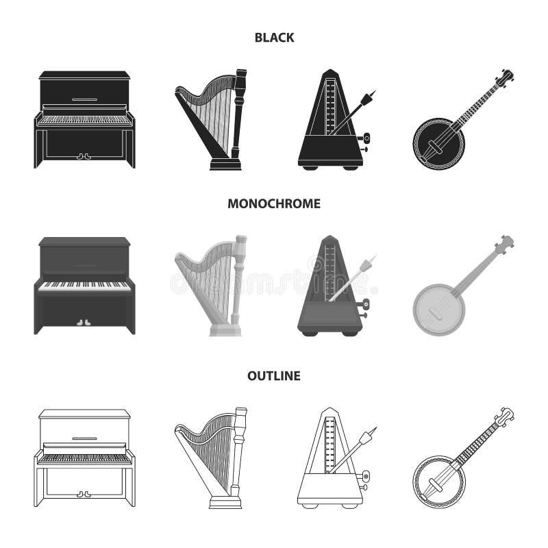 班卓琵琶,钢琴,竖琴,节拍器 乐器设置了在黑的汇集象,单色,概述样式传染媒介标志 向量例证