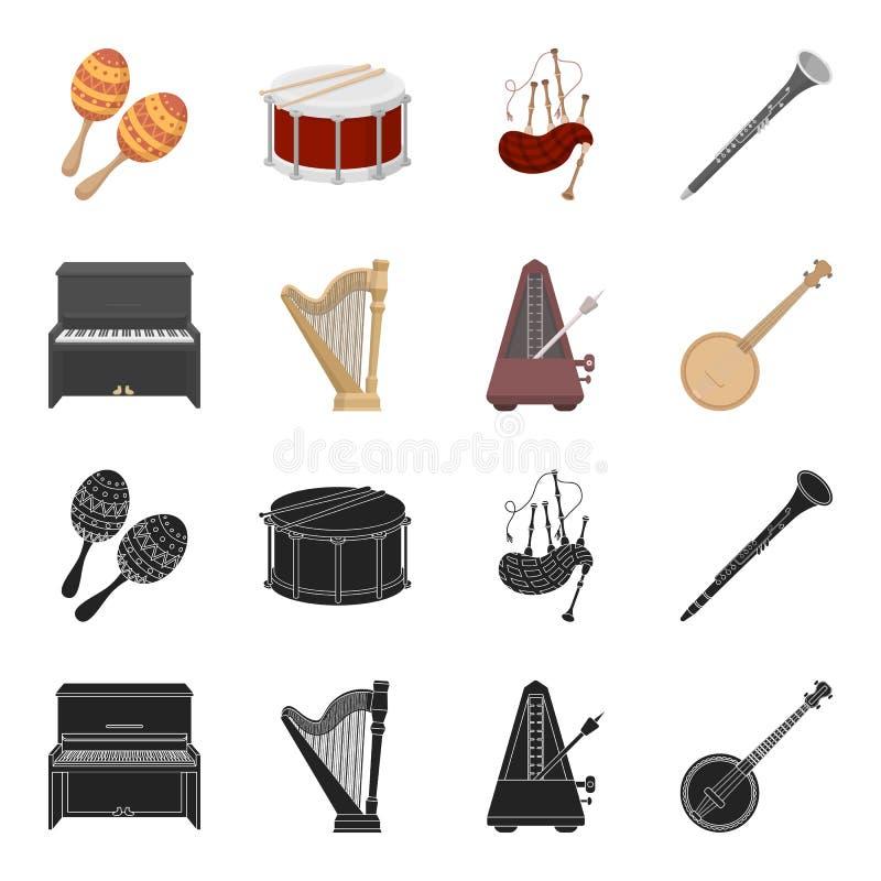 班卓琵琶,钢琴,竖琴,节拍器 乐器设置了在黑色的汇集象,动画片样式传染媒介标志股票 皇族释放例证