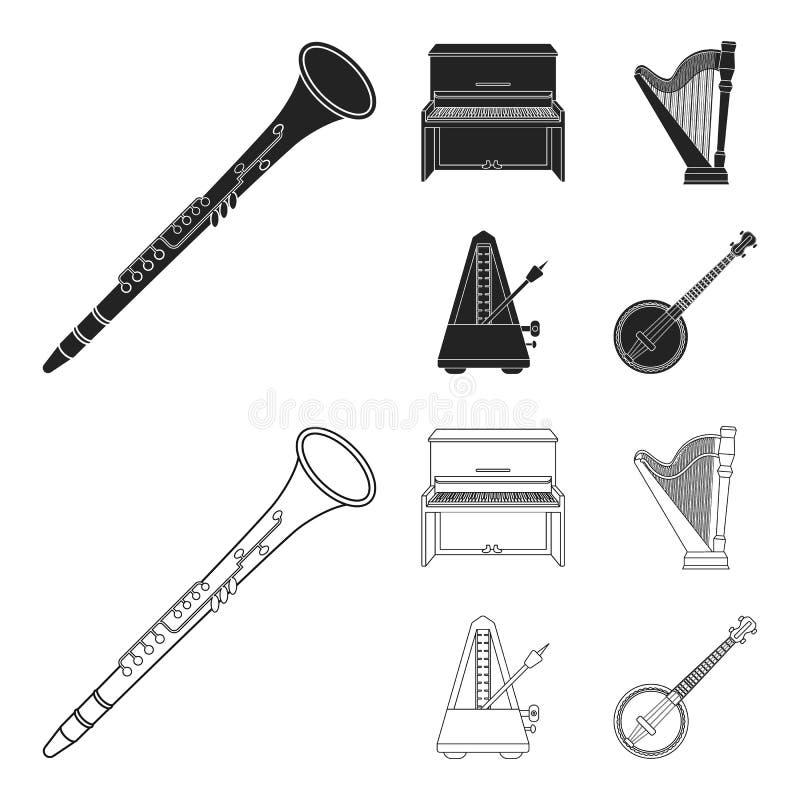 班卓琵琶,钢琴,竖琴,节拍器 乐器设置了在黑色的汇集象,概述样式传染媒介标志股票 向量例证