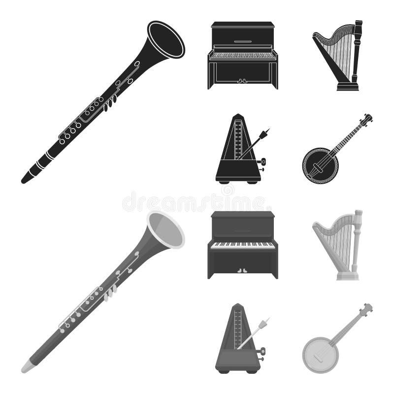 班卓琵琶,钢琴,竖琴,节拍器 乐器设置了在黑色的汇集象, monochrom样式传染媒介标志股票 向量例证