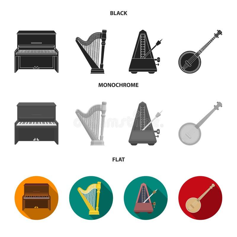 班卓琵琶,钢琴,竖琴,节拍器 乐器设置了在黑,平,单色样式传染媒介标志的汇集象 库存例证