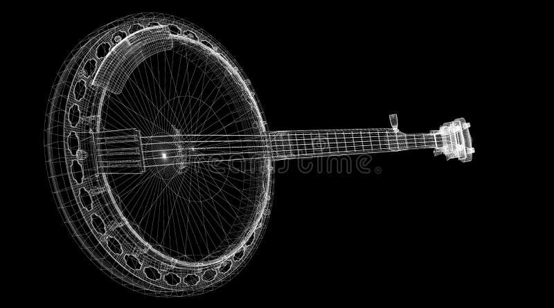班卓琵琶- 5串 向量例证