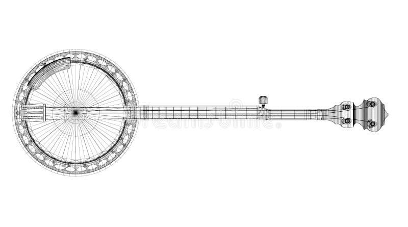 班卓琵琶- 5串 库存例证
