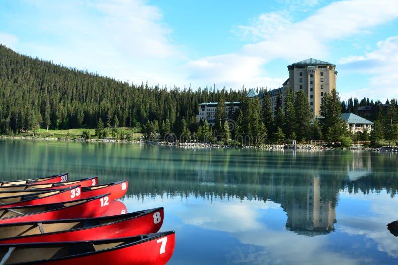 班夫亚伯大,加拿大山  路易丝湖亚伯大 库存照片