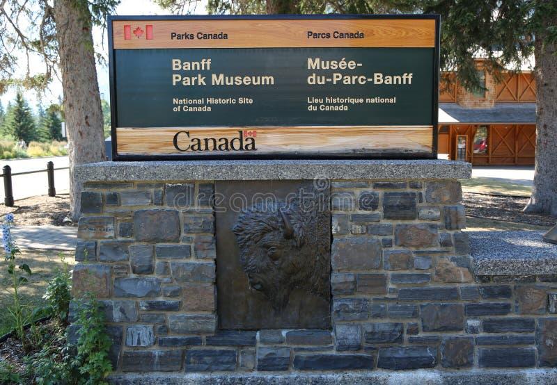 班夫,加拿大- 2014年7月29日:班夫国家公园博物馆签到班夫镇  班夫国家公园是加拿大` s最旧的国家 免版税库存图片