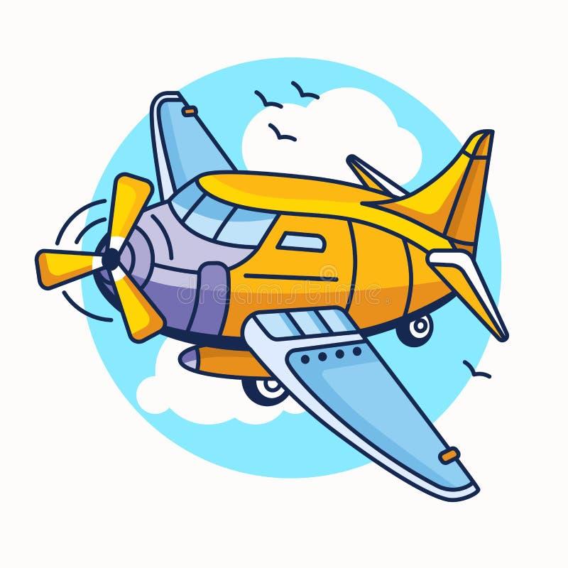 班机飞机的动画片例证 背景面对滑稽的例证查出的野人使白色惊奇 向量例证
