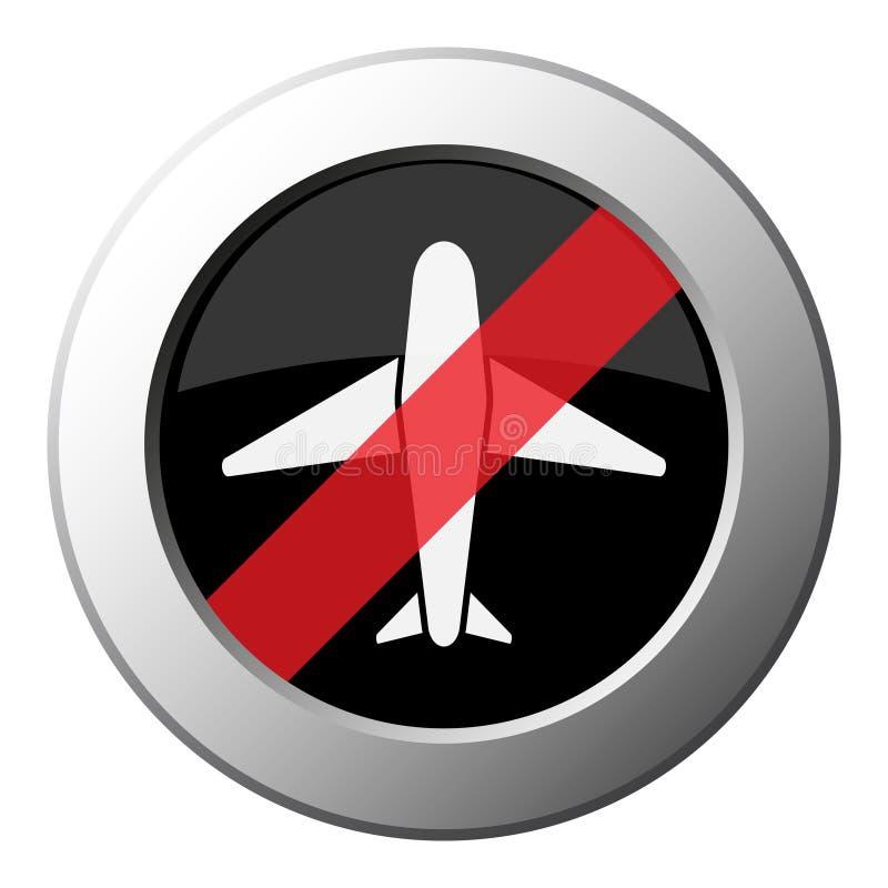 班机-禁令圆的金属按钮,白色象 皇族释放例证
