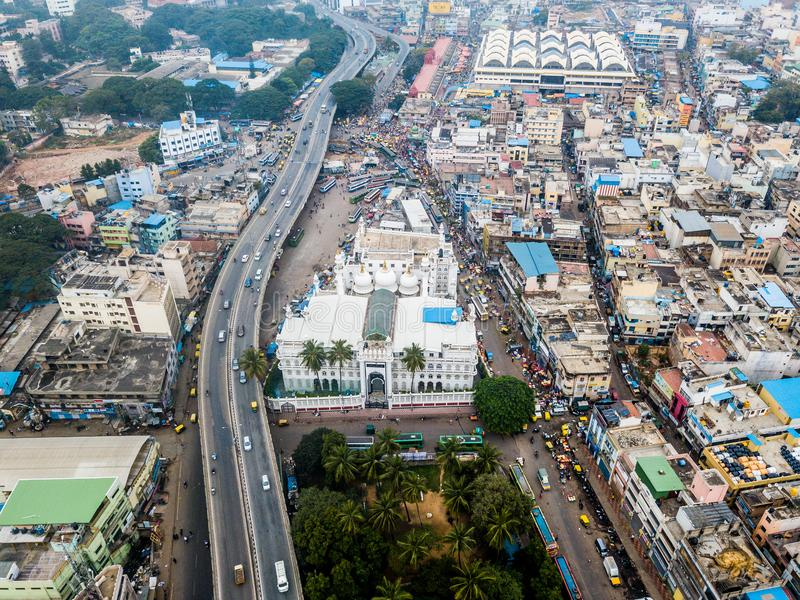 班格洛空中照片在印度 免版税库存图片
