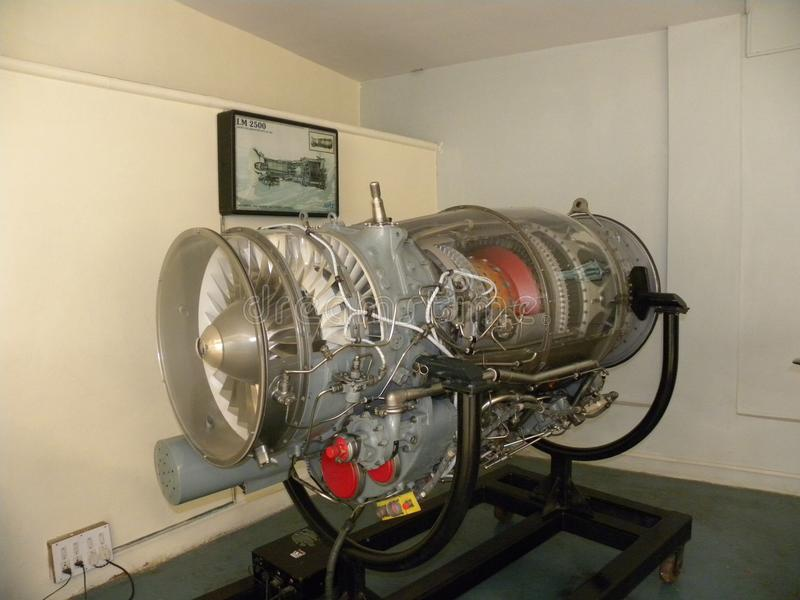 班格洛,卡纳塔克邦,印度- 2009年1月1日阿杜尔河MK 811轴向气流涡轮在捷豹汽车航空器使用的爱好者引擎 库存图片