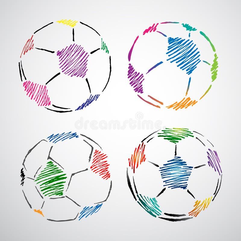 球五颜六色的乱画足球 向量例证