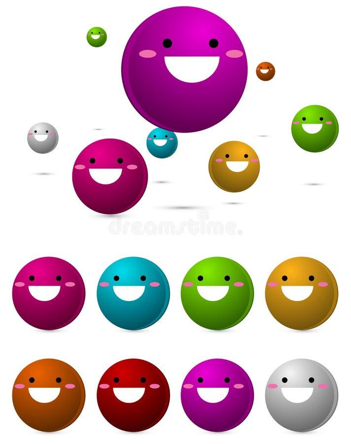 球五颜六色的愉快的面带笑容 库存例证