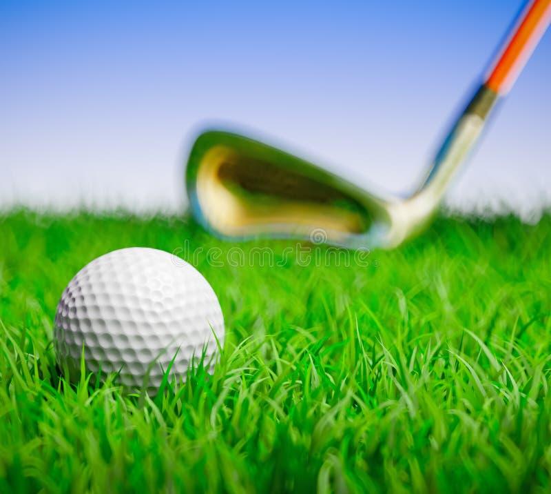 球俱乐部域高尔夫球草 库存例证