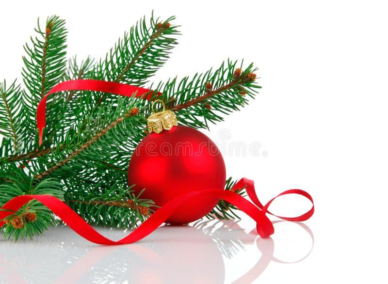 球分行圣诞节冷杉木 免版税库存照片