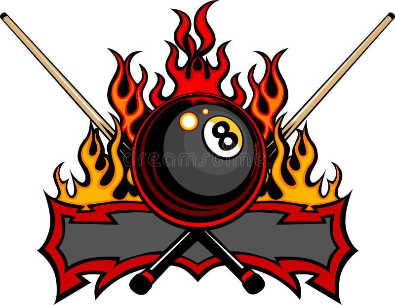 球台球设计八火焰状模板 向量例证