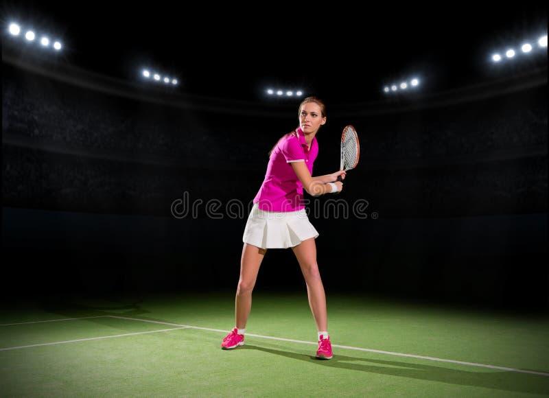 球员网球妇女年轻人 免版税库存照片