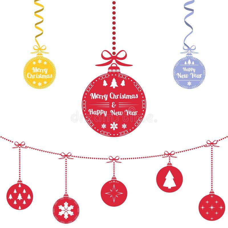 球圣诞节上色了 圣诞节装饰品垂悬的绳索 向量例证