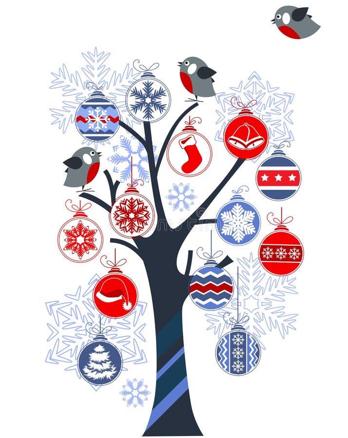 球圣诞节做结构树 向量例证