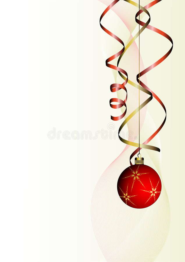 球圣诞节卷曲丝带 库存例证