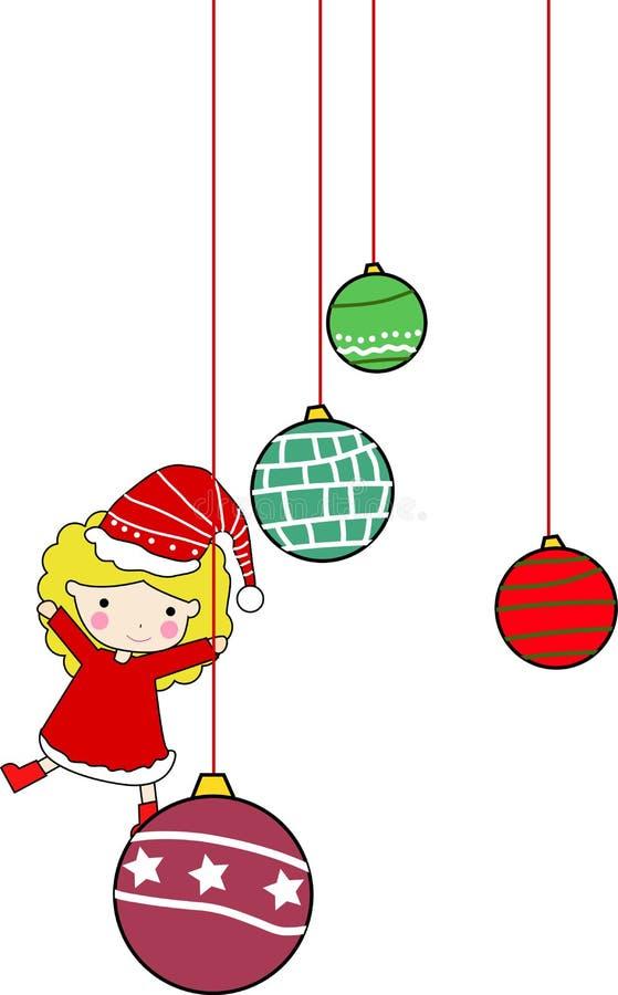 球圣诞节逗人喜爱的女孩 皇族释放例证