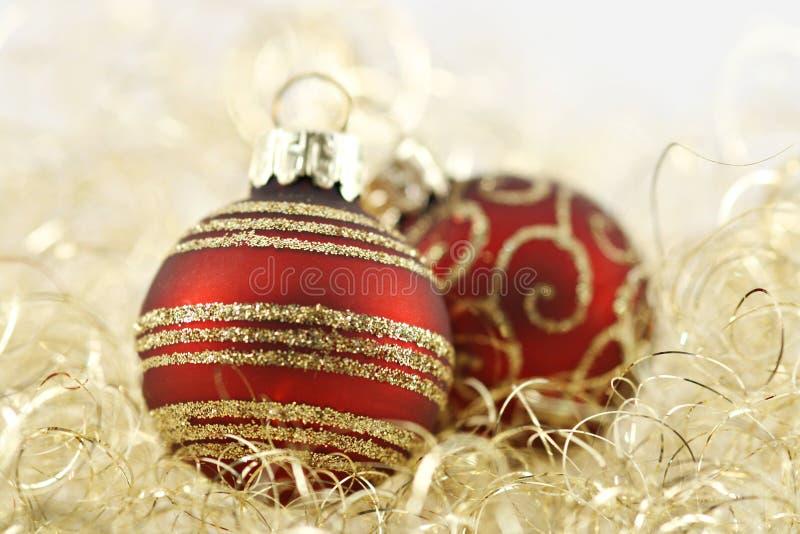 球圣诞节金黄红色 图库摄影
