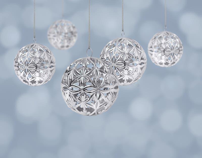 球圣诞节银 免版税库存照片