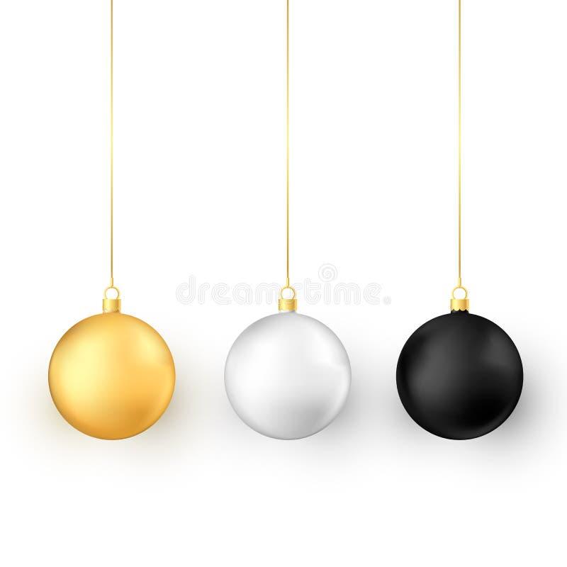 球圣诞节集 现实光滑的xmas和新年树装饰 皇族释放例证