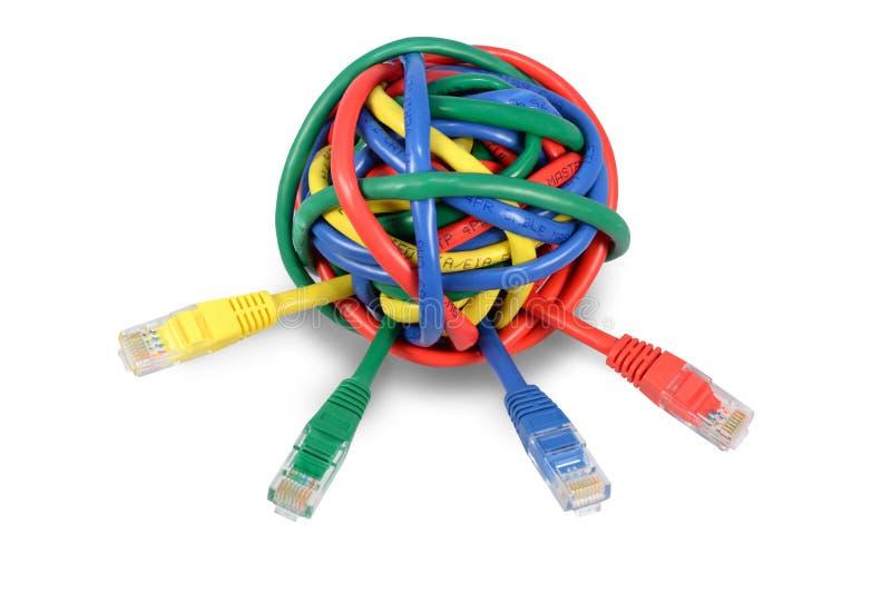 球在白色的色的网络缆绳 免版税库存照片