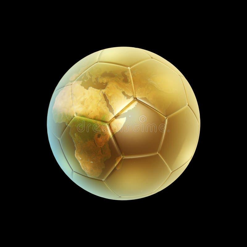 球地球金黄足球 向量例证