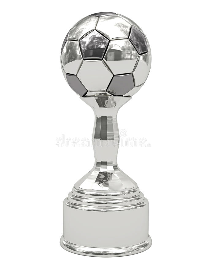 球垫座银足球战利品 库存照片
