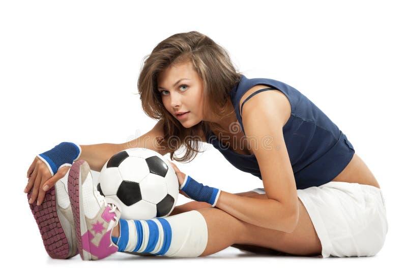 球女孩性感的足球 库存照片
