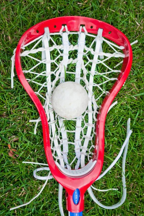 球女孩放牧灰色顶头曲棍网兜球 免版税库存照片