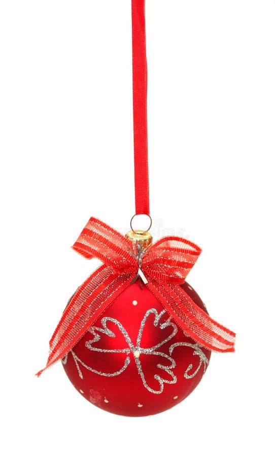 球弓圣诞节红色丝带白色 图库摄影