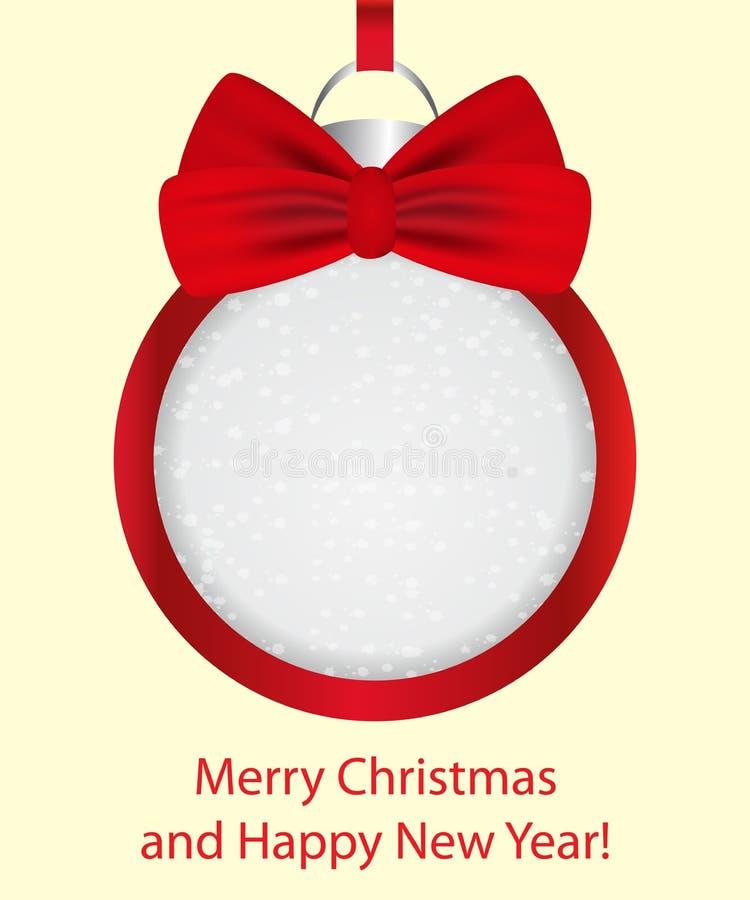 球弓圣诞节红色 横幅,卡片,海报的装饰框架 向量 库存例证