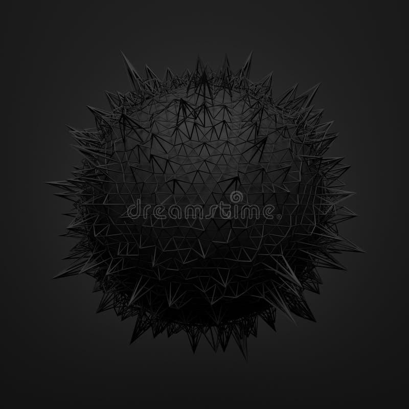黑球形抽象3d翻译与混乱的 库存例证