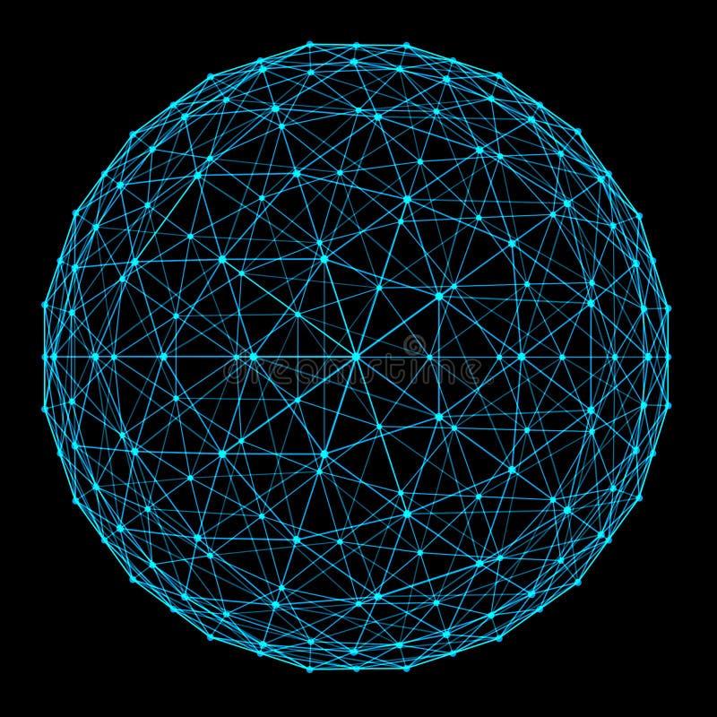 球形结构与在黑背景和小点的隔绝的网络连接线在未来派数字电脑技术方面 库存例证