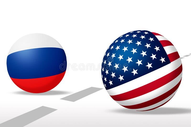 球形美国和俄国旗子 皇族释放例证
