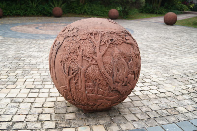 球形雕象 库存图片