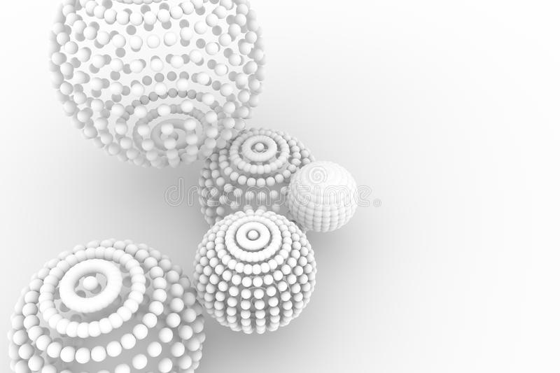 球形,软绵绵地白色现代的样式&灰色背景 背景,摘要,梦想&黑 皇族释放例证