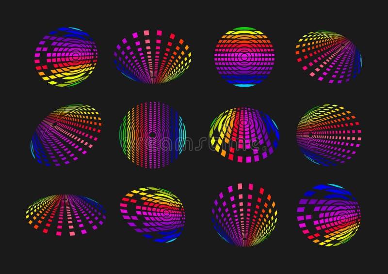 球形轻的技术商标、地球合理的象、现代标志通信、数字资料元素和连接技术构思设计 向量例证