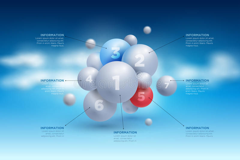 球形infographic在天空 库存例证
