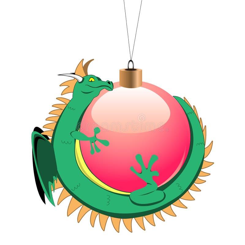 球微小圣诞节的龙 皇族释放例证