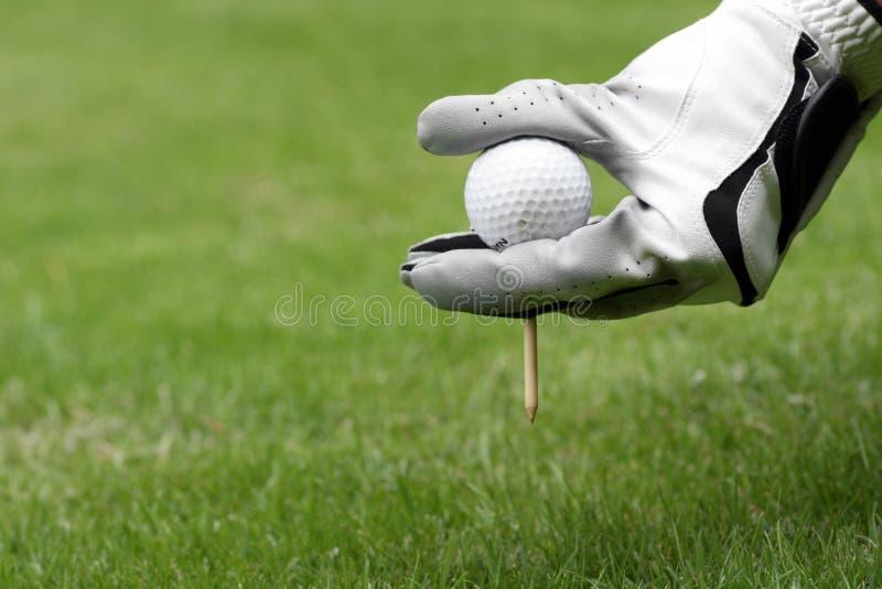 球手套高尔夫球发球区域 免版税库存图片