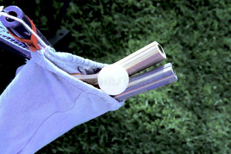 球拍和一个球台球吊的在案件以绿草为背景 免版税库存照片