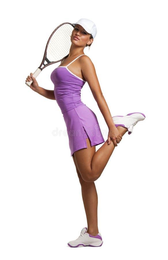 球拍网球妇女 免版税库存图片