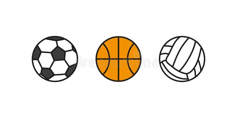 球排球篮球橄榄球集合 集合球炫耀隔绝 ?? 向量例证