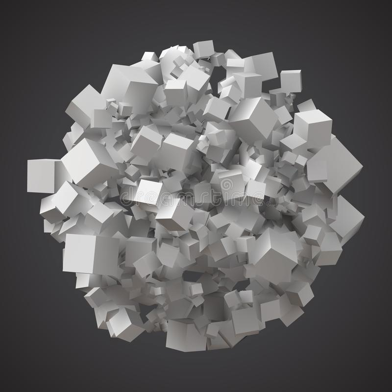 球状堆任意立方体 库存例证