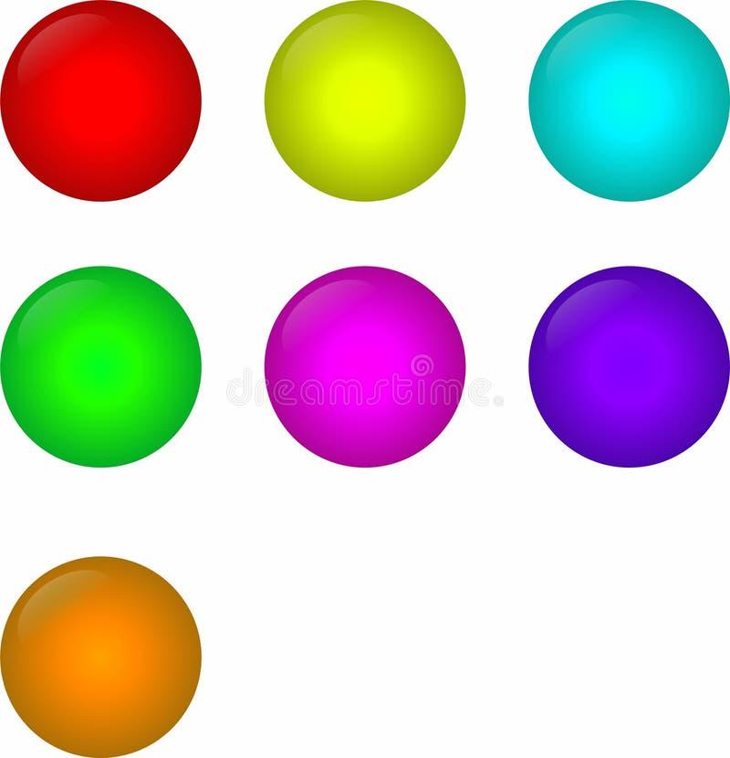 球状按钮网站的七种颜色 库存照片