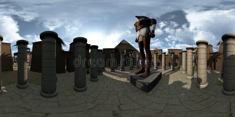 球状360程度、古埃及archtecture寺庙无缝的全景和Horus 3d翻译 向量例证