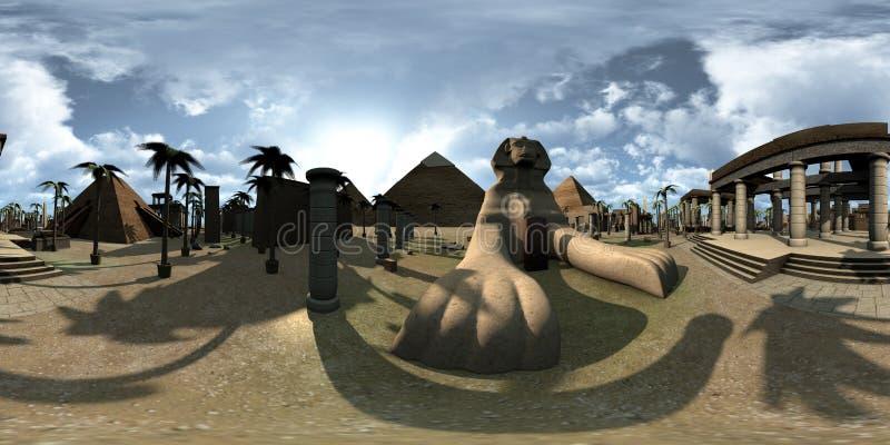 球状360程度、古埃及archtecture狮身人面象无缝的全景和金字塔 3d翻译 向量例证