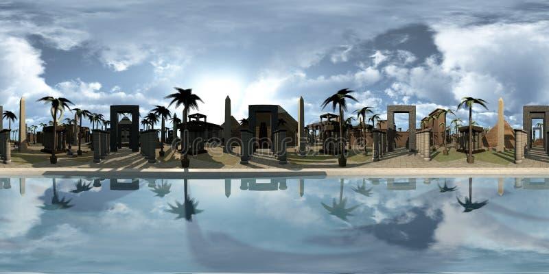球状360程度,古埃及archtecture无缝的全景在尼罗边缘的 3d翻译 库存例证